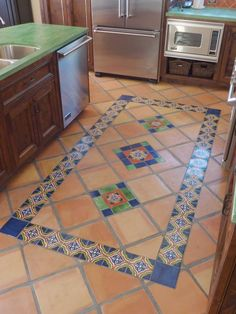 Mexican Tile Floor And Decor Ideas For Your Spanish Style Home - H. Mexican Tile Floor And Decor Ideas For Your Spanish Style Home – Home Decor Mediter Hacienda Style Homes, Spanish Style Homes, Spanish House, Floor Design, Tile Design, Mexican Style Kitchens, Mexican Style Decor, Mediterranean Home Decor, Kitchen Flooring