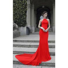 38e98f8e1e2b Tarik Ediz 92846 Evening Dress Long High Neckline Sleeveless ($896) ❤ liked  on Polyvore