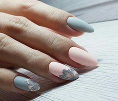 inch NAILS FRENCH grey and pink matte finish with contrasting florals. Now😚😚😚 Nails, nail art designs, nail designs, nail art, nail designs acrylic Spring Nail Art, Spring Nails, Cute Nails, Pretty Nails, Funky Nails, Hair And Nails, My Nails, Diva Nails, Nagellack Design