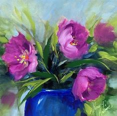 """Daily Paintworks - """"Spring Fever Pink Tulips and a Texas Hill Country Workshop - Flower Painting Classes and Workshops b"""" - Original Fine Art for Sale - © Nancy Medina"""