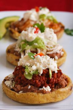A traditional Mexican antojito, sopes are piled high with ingredients: El Mexicano® Refried Beans, Queso & Crema + your choice of protein. Mexican Cooking, Mexican Food Recipes, Dinner Recipes, Sopes Recipe, Hispanic Dishes, Traditional Mexican Food, Good Food, Yummy Food, Mexican Dishes