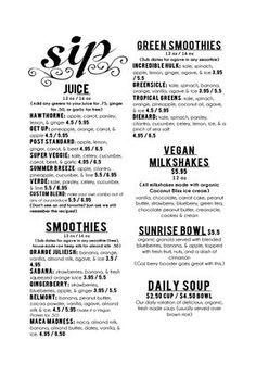 Sip Juice Bar Menu - I love the design of the word SIP - green smoothies - Juice Bar Menu, Drink Menu, Juice Bars, Smoothie Bar, Smoothie Names, Raw Juice, Fruit Juice, Juice Bar Design, Business Plan Template Free