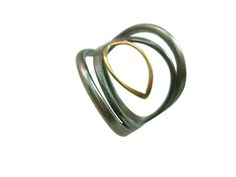 marquise statement ring in oxidized silver with 18 karat solid gold accent - Sharon Z jewlery by sharon zimmerman - ethical jewelry made in San Francisco
