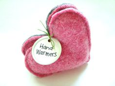 Heart Hand Warmers PINK Hearts for Breast Cancer Awareness Gift Handwarmers by WormeWoole via Etsy