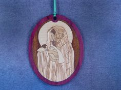 Wood Inlay Christmas Ornament - Madonna by EzMarquetry on Etsy