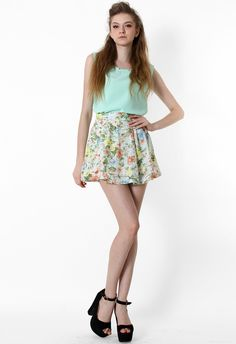 Pastel Floral Skater Skirt - Skirt - Bottoms - Retro, Indie and Unique Fashion