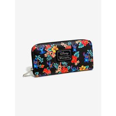 Loungefly Disney Lilo & Stitch Ukulele Print Zip Wallet ($32) ❤ liked on Polyvore featuring bags, wallets, accessories, print wallets, zipper bag, vegan bags, faux leather wallet and pattern wallet