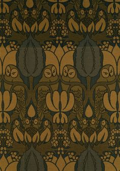 Owl furnishing fabric, jacquard-woven wool tissue, 1898 (made). Charles Francis Annesley Voysey.