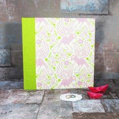 Großes quadratisches Hochzeitsfotoalbum grün rosa