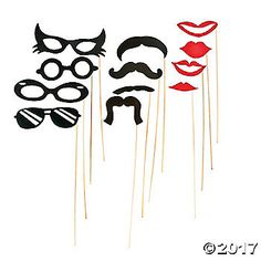 "Stick Costume Props. Try on a mustache, lips or glasses with these fun Stick Costume Props. Throw an impromptu costume party or play a game of ""Who am ..."