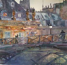 Pont des Artes - John SalminenAmerican b. 1945-Watercolour