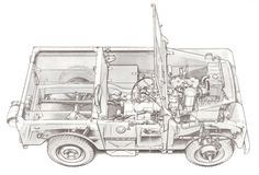 """Cut-away drawing of late pre-production 80"""" Land Rover S1"""