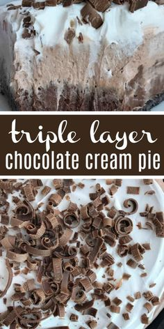 No Bake Triple Layer Chocolate Cream Pie | No Bake Pie | Pie | No bake triple layer chocolate cream pie is a must make for your Holiday table! Three layers of creamy chocolate pudding inside a chocolate cookie crust. No bake 4 ingredients and some fridge time is all you need for the best chocolate cream pie dessert. #thanksgivingrecipe #pie #dessert #chocolate #recipeoftheday #easydessertrecipe ...ing for cake in a 9 by 9 inch square pan Frosting can be spread on cake while still warm A…