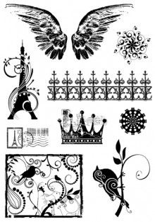 #crafty rubber stamps paris wings crown postage eiffel tower birds