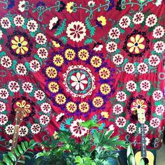 """Red and Yellow Frangipani"" - Honorooroo Lifestyle Wool Thread, Blue Wool, Chain Stitch, Beautiful Hands, Swirls, Folk Art, Corner Table, Embroidery, Threading"