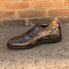 b499e55543dfe Custom whole cut shoes with camouflage patina. Custom Made Shoes