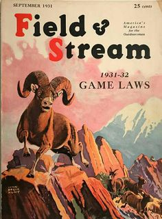 field stream in Magazine Back Issues and Current Issues Hunting Magazines, Fishing Magazines, Outdoor Life Magazine, Cover Design, Design Art, Hunting Art, Magazine Covers, Magazine Rack, Wildlife Art