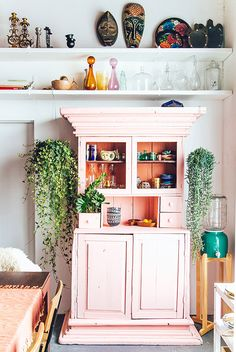 Jungalow HQ / Justina Blakeney That blush cabinet! House Design, Decor, Interior Design, Furniture, Home Kitchens, Home, Interior, Jungalow, Home Decor