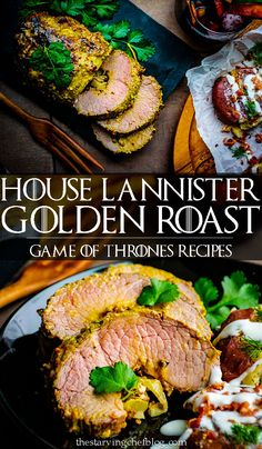 This golden roast is encrusted in horseradish and honey mustard glaze colored with tumeric and saffron threads - the most expensive spice in Westeros. Home Recipes, Beef Recipes, Dinner Recipes, Game Of Thrones Food, Viking Food, Medieval Recipes, Food Themes, Saffron Threads, Food Inspiration
