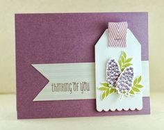 Lynn Mangan's thinking of you card, May Arts chevron twill, WPlus9 Folk Art Florals