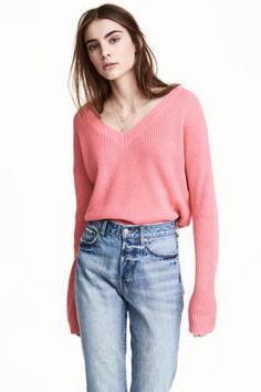 Vネックセーター - ピンク - レディース | H&M JP 1