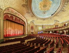 """Tennessee Theatre, Knoxville, TN.  Built in 1928, the theater showed films and was a venue for stage productions, including Helen Hayes in a 1935 live stage production of """"Mary of Scotland.""""  The Mighty Wurlitzer organ was restored by master organ rebuilder Ken Crome in 2000 & the reopening after extensive restoration was in 2005."""