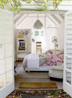 Simon Bajada encore. Summery white bedroom in a little cottage.