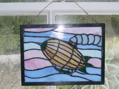 'Steampunk airship' stained glass panel by vulpinedesigns