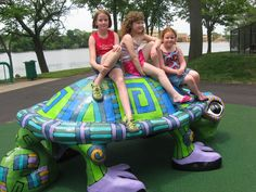 SLU the Turtle (2002)...Riverside Park, Hwy 51.  This colorful turtle was funded by the Society for Learning Unlimited and designed by Milwaukee artist Marina Lee.  SLU was designed to contribute to the Riverfront's beautification project and pays homage to Beloit's mascot.  SLU the Turtle welcomes children, parents and grandparents to the Turtle Island Playground in Riverside Park.
