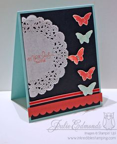 Connie and Mary Stampin' Up! Challenge, colours are: Pool Party, Primrose Petals, Real Red and Basic Black.  Gorgeous card by Julie Edmonds - Inkredible Stamping