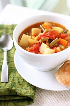 simple vegetable soup...I make it with homemade veggie broth, fresh kidney & lima beans, okra and a bit of kale.