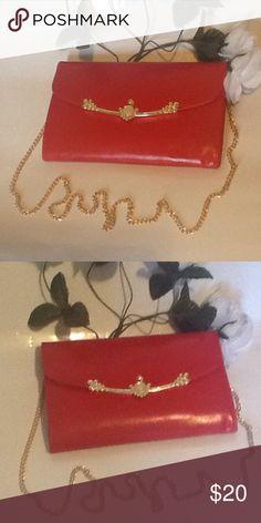 Adorable red NWOT shoulder bag Very adorable red gold plated over the shoulder or hand bag Bags Shoulder Bags