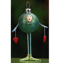 Krinkles by Patience Brewster - Blue-Green Ball Ornament (Retired)
