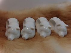 vintage shafford set of 4 white ceramic sleeping pigs collectible napkin rings