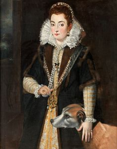 PRECIOUS LADY WITH THE HOUND. Unknown artist, 17th Century. Relined canvas 114 x 91 cm.