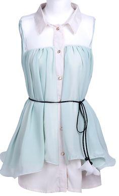 Green Lapel Sleeveless Belt Pleated Chiffon Dress