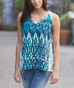 Stitch Fix Stylist...just ordered this Green & Navy Lace-Accent Tank #zulilyfinds