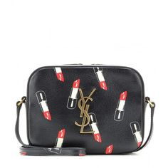Saint Laurent Classic Monogram Printed Leather Shoulder Bag ($965) ❤ liked on Polyvore featuring bags, handbags, shoulder bags, borse, black, leather purse, black leather handbags, leather handbags, real leather purses and black handbags