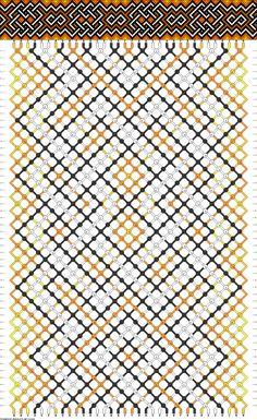 Friendship Bracelet Pattern 34 strings 4 gray, lavender, dark purple. 2 slightly lighter purple. 8 white. 12 black.