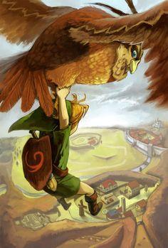 C'est Link qui s'accroche aux pattes de Kaepora Gaebora