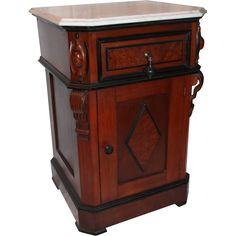 American Walnut Renaissance Revival Half Commode With A Burled Diamond Shaped Paneled Door In The Front And Molded Drawer Above The Door And Marble Top    c.1870
