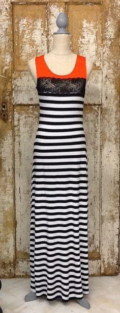 Lace and Stripe Maxi Dress – Laney Lu's Boutique