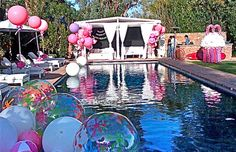 Trending Birthday party themes- trends in –The pool party is back. Celebrate in style with balloons, dessert table, banners and the works! Teen Pool Parties, Pool Party Themes, Teenage Parties, Pool Party Decorations, Outdoor Parties, Luau Party, Birthday Party Themes, Party Ideas, Teen Birthday