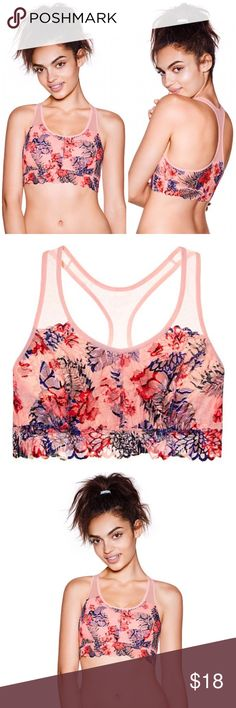 Victoria's Secret PINK Lace Unlined Crop Bralette Brand new in packaging, size Small. This Victoria's Secret PINK Lace Unlined Crop Racerback Bralette (Bra) comes in the beautiful Euphora Pink floral pattern. Unpadded with super soft lining for comfort and no-show through. Its perfect worn solo for lounging or layered under a drapey knit top. So pretty & feminine with its lace design. Scalloped lace bottom band. PINK Victoria's Secret Intimates & Sleepwear Bras