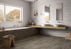 En nuestros baños podemos mezclar distintos materiales cerámicos para crear un ambiente realmente acogedor