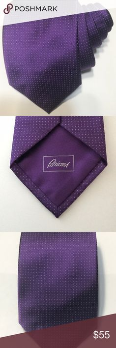 "Brioni Mens Purple Dot Print Neck Tie 100% Silk Wide 3"" 5/8 Lenght 60""  100% Silk Tie in Great Condition Brioni Accessories Ties"