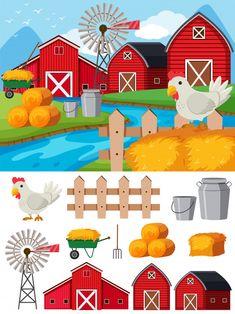 Descarga gratis vectores de Elementos de granja y escena durante el día School Pictures, Pictures To Draw, Cardboard Box Houses, Shapes For Kids, School Murals, The Barnyard, Mother Art, Trunk Or Treat, Farm Party