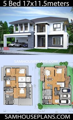 House Plans Idea with 5 Bedrooms – Sam House Plans – House Design Two Storey House Plans, 2 Storey House Design, Bungalow House Design, Modern House Design, House Layout Plans, Family House Plans, House Layouts, Modern House Floor Plans, Dream House Plans