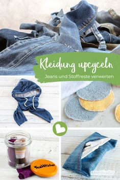 Alte Kleidung upcyceln – neue Dinge aus Jeans und Stoffresten From fabric scraps and old clothing such as jeans and T-shirts you can upcycle many new things – for example bags, cherry stone pillows, cosmetic pads, herbal pillows and lunch bags. Next Jeans, Love Jeans, Diy Upcycled Art, Diy Kleidung Upcycling, Sac Lunch, Lunch Bags, Upcycled Furniture Before And After, T-shirt Und Jeans, Diy Mode