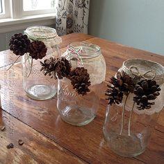 Snowy Pinecone Candle Jars - Crafts by Amanda Diy Christmas Presents, Christmas Tree Ornaments, Christmas Stuff, Holiday Crafts, Christmas Decorations, Xmas, Wine Bottle Crafts, Mason Jar Crafts, Candle Maker
